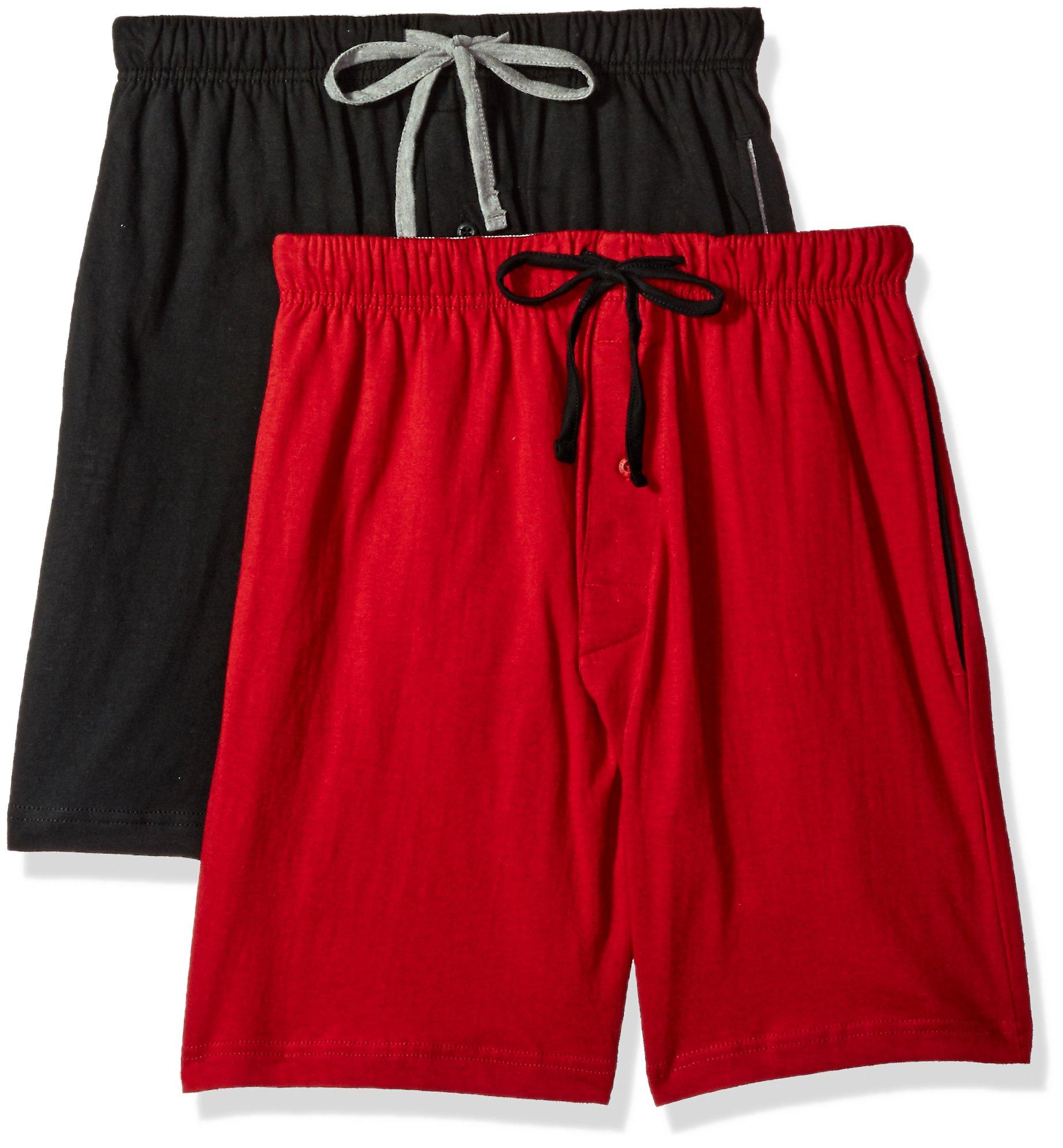 Hanes Men's Logo Knit Shorts 2-Pack Biking Red-Black 5XL Hanes Men's Logo Knit Shorts 2-Pack