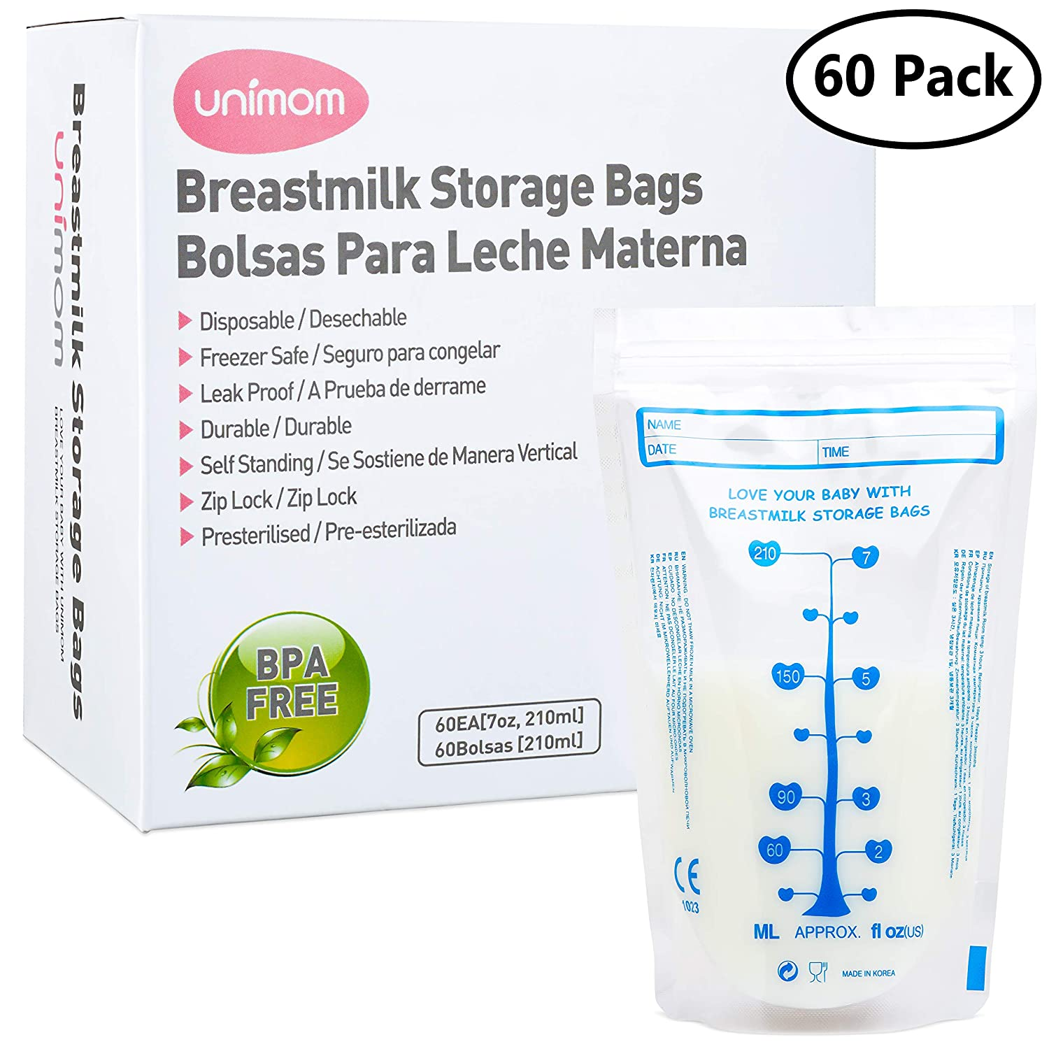 Amazon.com: 60 Breast Milk Storage Bags - Self Standing, Freezer Safe, Leak Proof Zip Top Closure, Pre Sterilized, BPA Free, Marked Measurements – 7oz – by ...