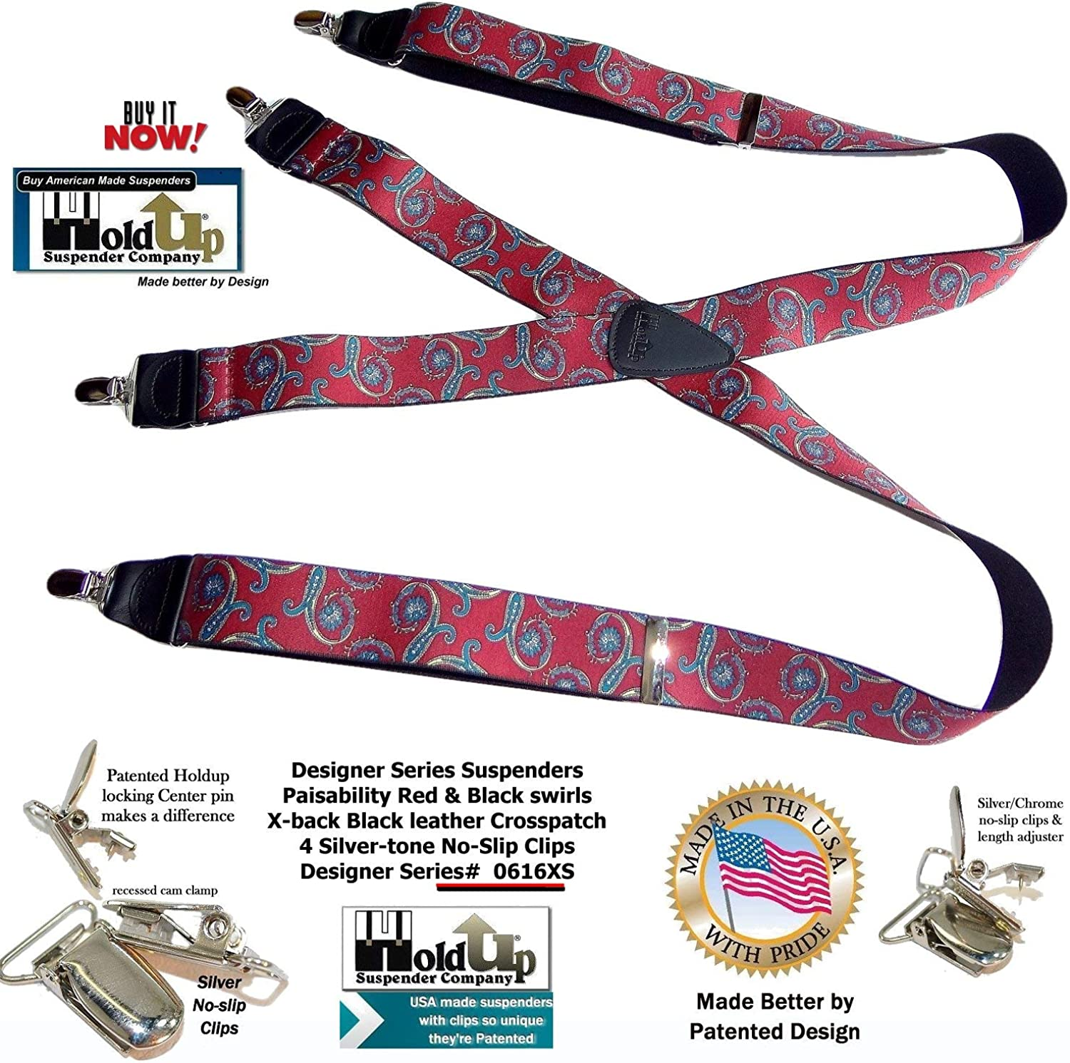 USA made Red Paisley Pattern Holdup Suspenders with black leather X-back crosspatch and Patented No-slip Silver Clips