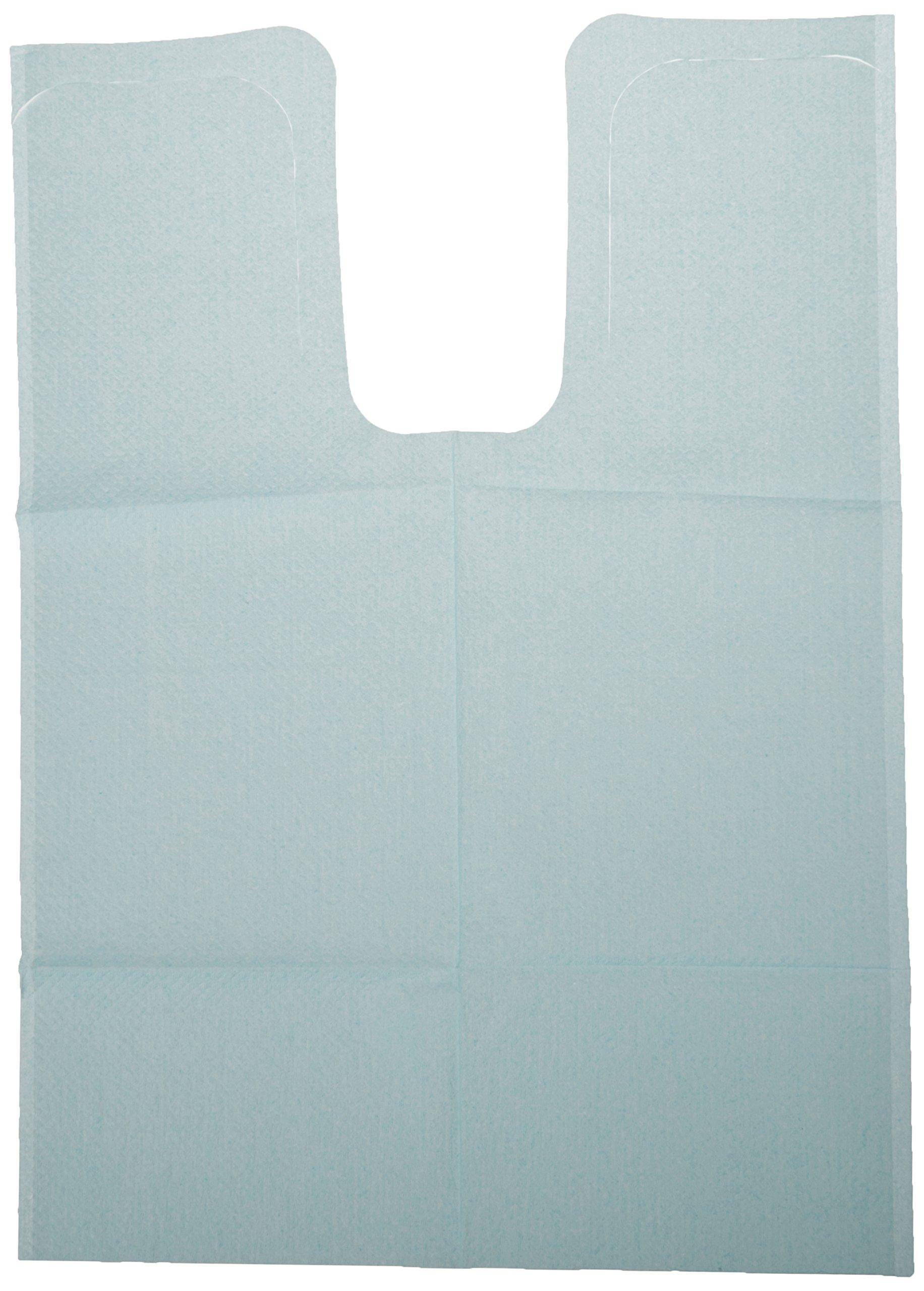 TIDI Products 917673 1-Ply Tissue/Poly Chainless Bibs with Ties, Shell Embossed, Blue, 18'' Length x 25'' Width (Pack of 250)