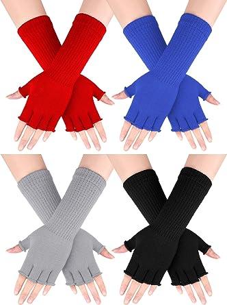 Winter Women Men/'s Unisex Knit Cotton Fingerless Gloves Arm Long Mitten Elbow