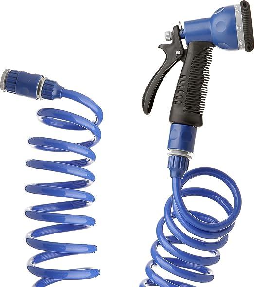 Tatay 0058001 Kit con Manguera de Jardín Espiral de 15 m y Pistola Soft Touch 7 Posiciones, Azul: Amazon.es: Jardín