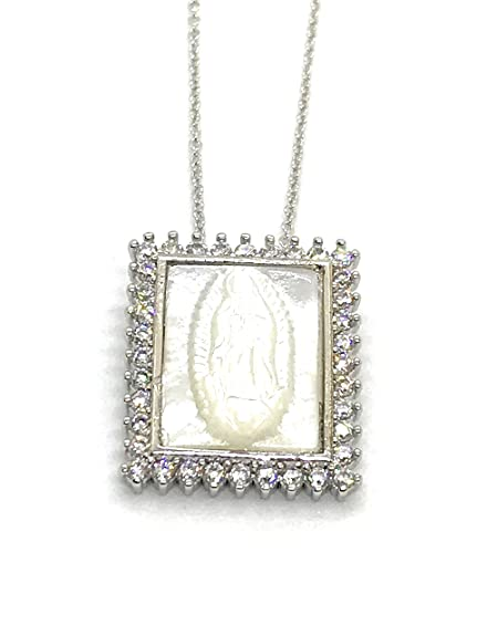 CZ /&  MOTHER OF PEARL VIRGIN OF GUADELOUPE PENDANT 925 SILVER