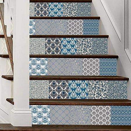 Kang Vinilo Decorativo Infantil Adhesivo Pegatina de Pared para Decoración Hogar Palacio Impermeable Retro Escalera Estrecha Damasco,100x18cmx6Chip: Amazon.es: Hogar