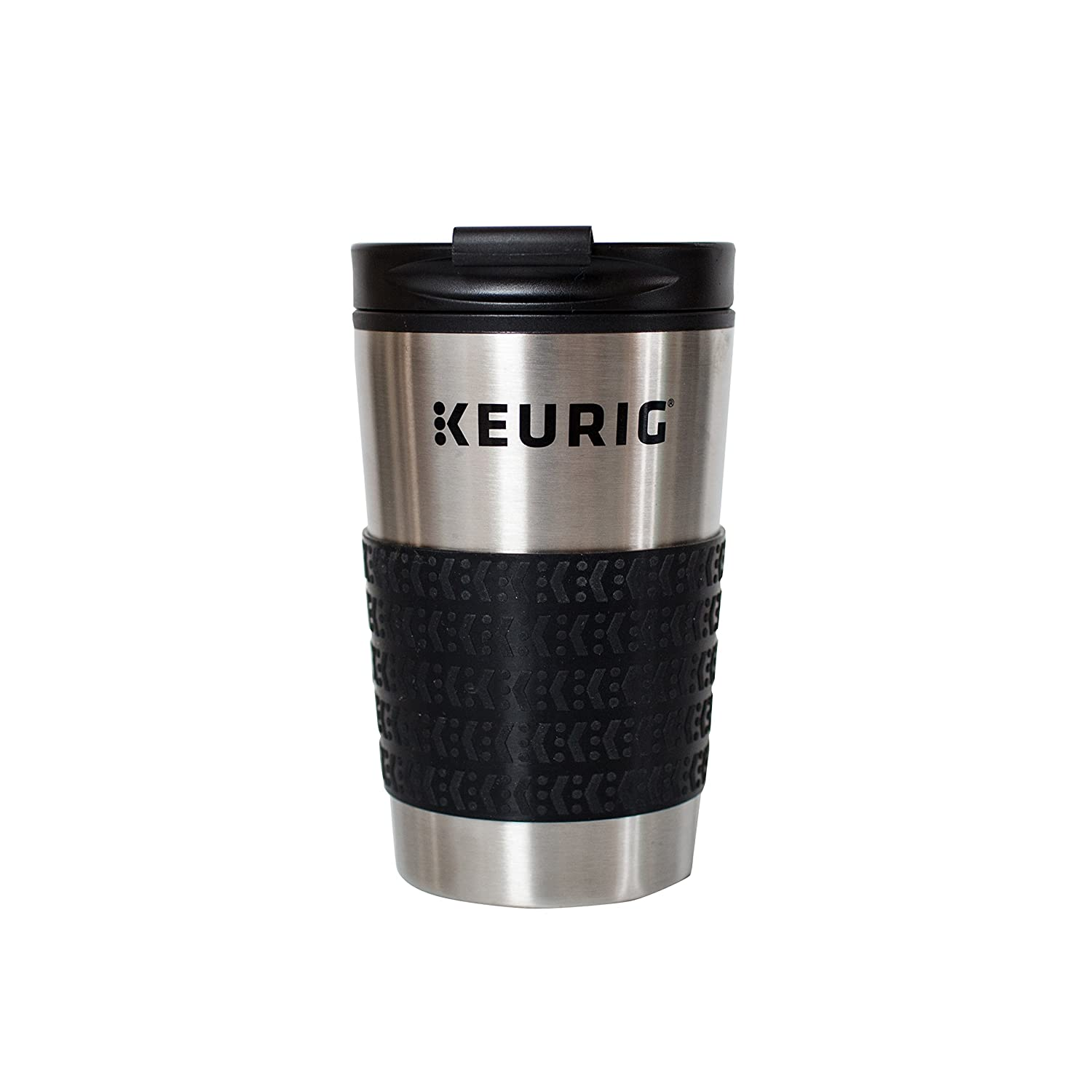 Keurig 12oz Stainless Steel Insulated Coffee Travel Mug, Fits Under Any Keurig K-Cup Pod Coffee Maker (including K-15/K-Mini),Silver