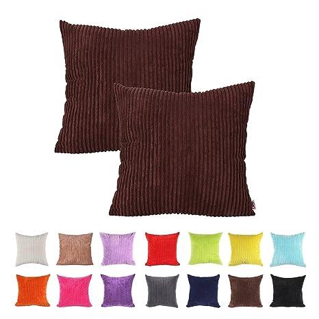 IHRKleid® - Fundas de cojín decorativas para sofá - Color liso, algodón, marrón, 50*50 cm