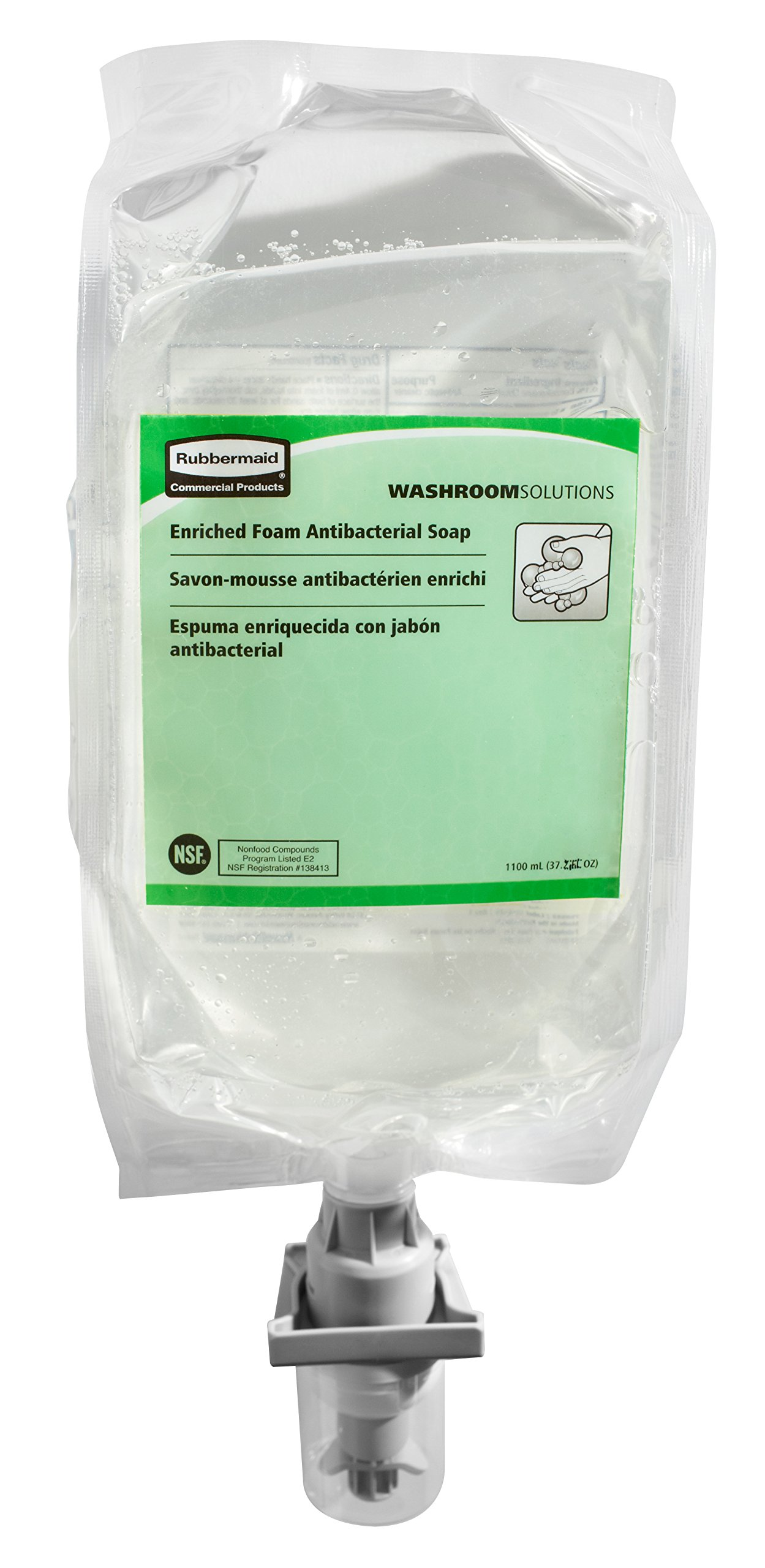 Rubbermaid Commercial Enriched Foam Antibacterial E2 Hand Soap, 1100 ml (FG750111)