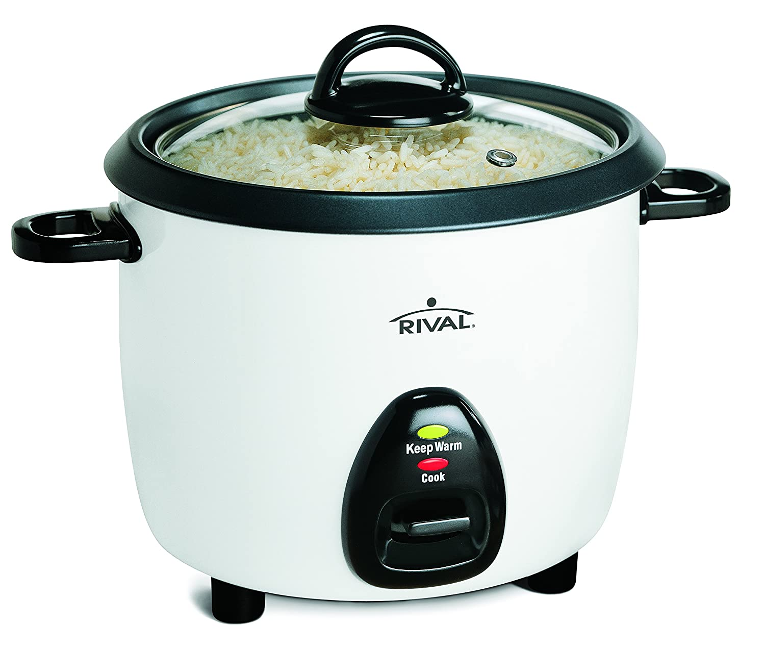 Rival 10-Cup Rice Cooker with Steamer Basket, White/Black (RC101)