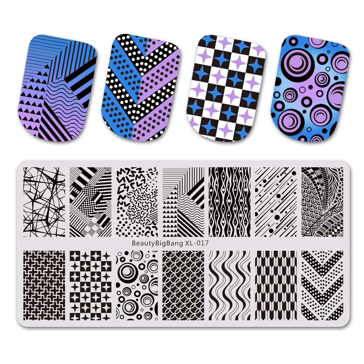 Beautybigbang Nail Stamping Plate Image Templates 3D Geometry Line Nail Art XL-017