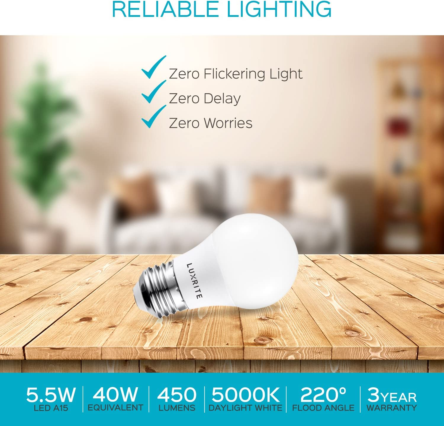 6 Pack UL Listed Perfect for Ceiling Fans and Home Lighting Enclosed Fixture Rated 4000K Cool White Dimmable 450LM Medium Base E26 LED Light Bulb 40W Equivalent Luxrite A15 LED Light Bulb