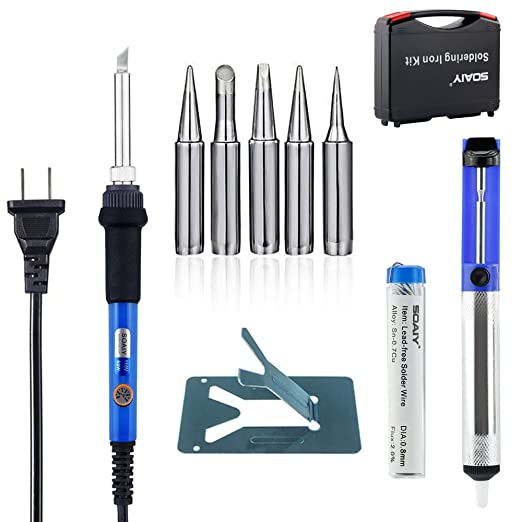 Amazon.com: 6-in-1 Electric Soldering Iron Kit with Y Stand, SOAIY 60W Adjustable Temperature Welding Soldering Iron with Tool Carry Case, Including 5pcs ...