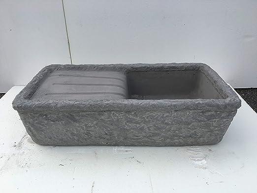 artística granillo fregadero de cemento y Piedra volcánica del vesubio, Lavabo, fuente, medidas: 80 X 40 altura.: Amazon.es: Jardín