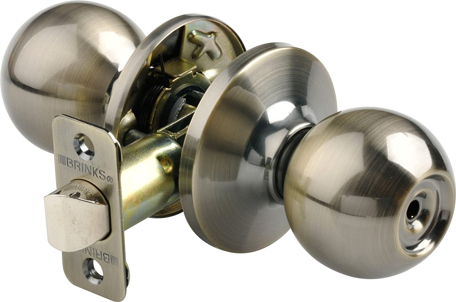 Beau Brinks 2112 109 Ball Style Door Knob With Privacy Key For Bedroom And Bath,  Antique Brass   Doorknobs   Amazon.com