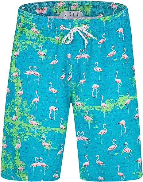 Mens Quick Dry Swim Trunks Flamingos Beach Board Shorts with Pockets