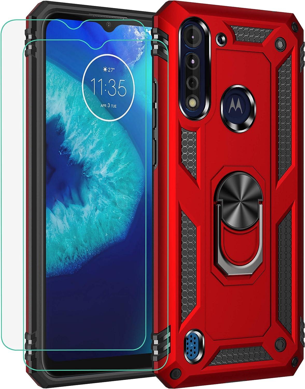 funda + 2 vidrios templado Moto Motorola One Fusion rojo