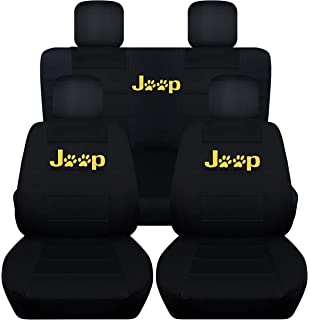 Fits 2015 To 2017 Jeep Wrangler 4 Door Black Seat Covers With Yellow Paw Prints