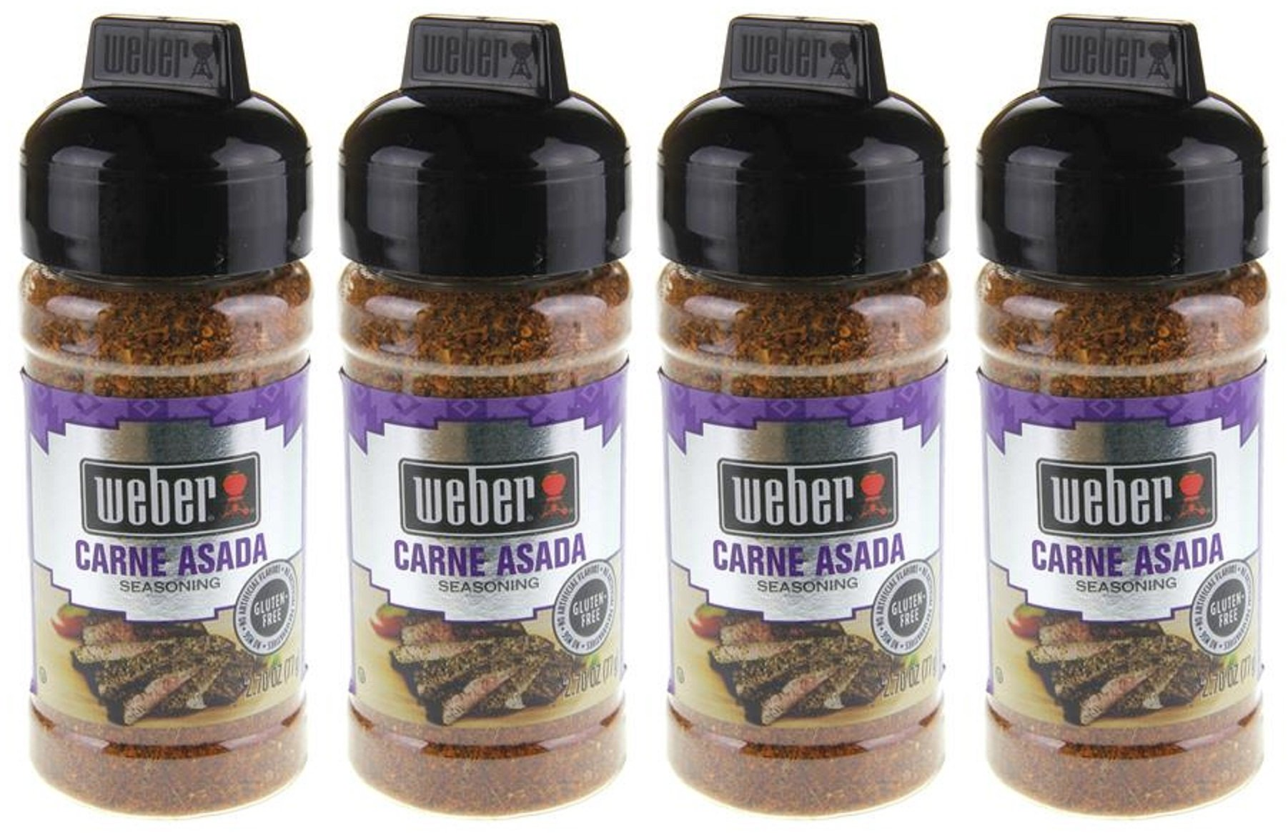 Weber Seasoning - Carne Asada - Net Wt. 2.7 OZ (77 g) Per Bottle - Pack of 4 Bottles