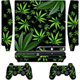 247Skins - Sticker de Protection pour Console PS3 SLIM Playstation 3 Sony + 2 Stickers pour Manette PS3 Sony -Weeds - Black
