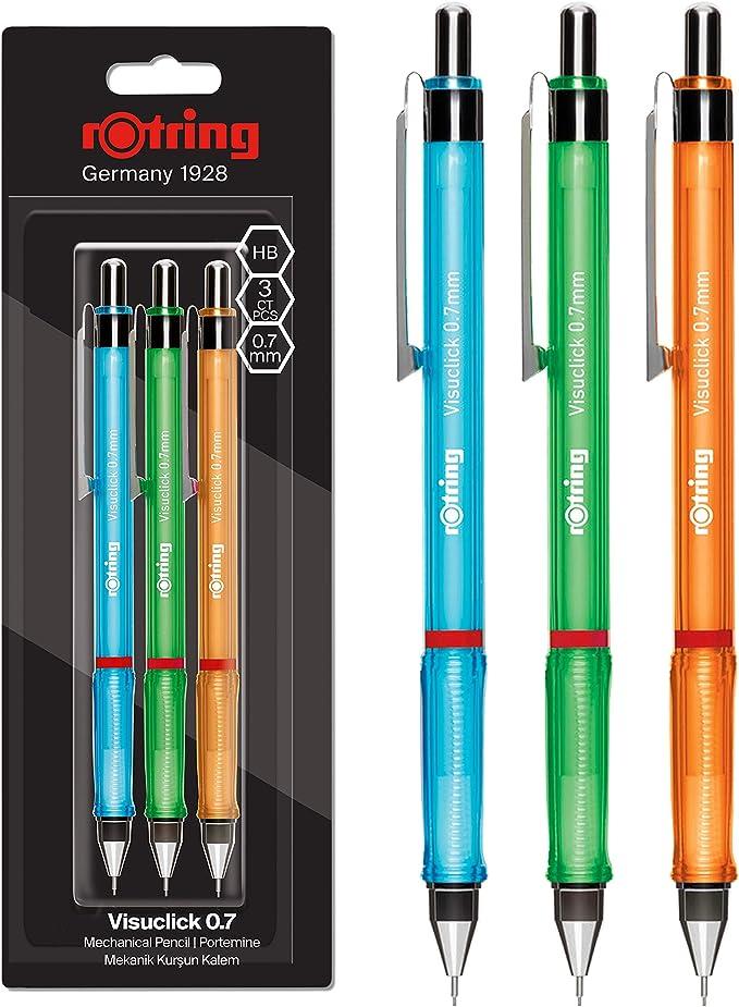 rOtring Visuclick portaminas   0,7 mm   Mina 2B   Cuerpos rosa, naranja y azul vivos   3 unidades: Amazon.es: Oficina y papelería