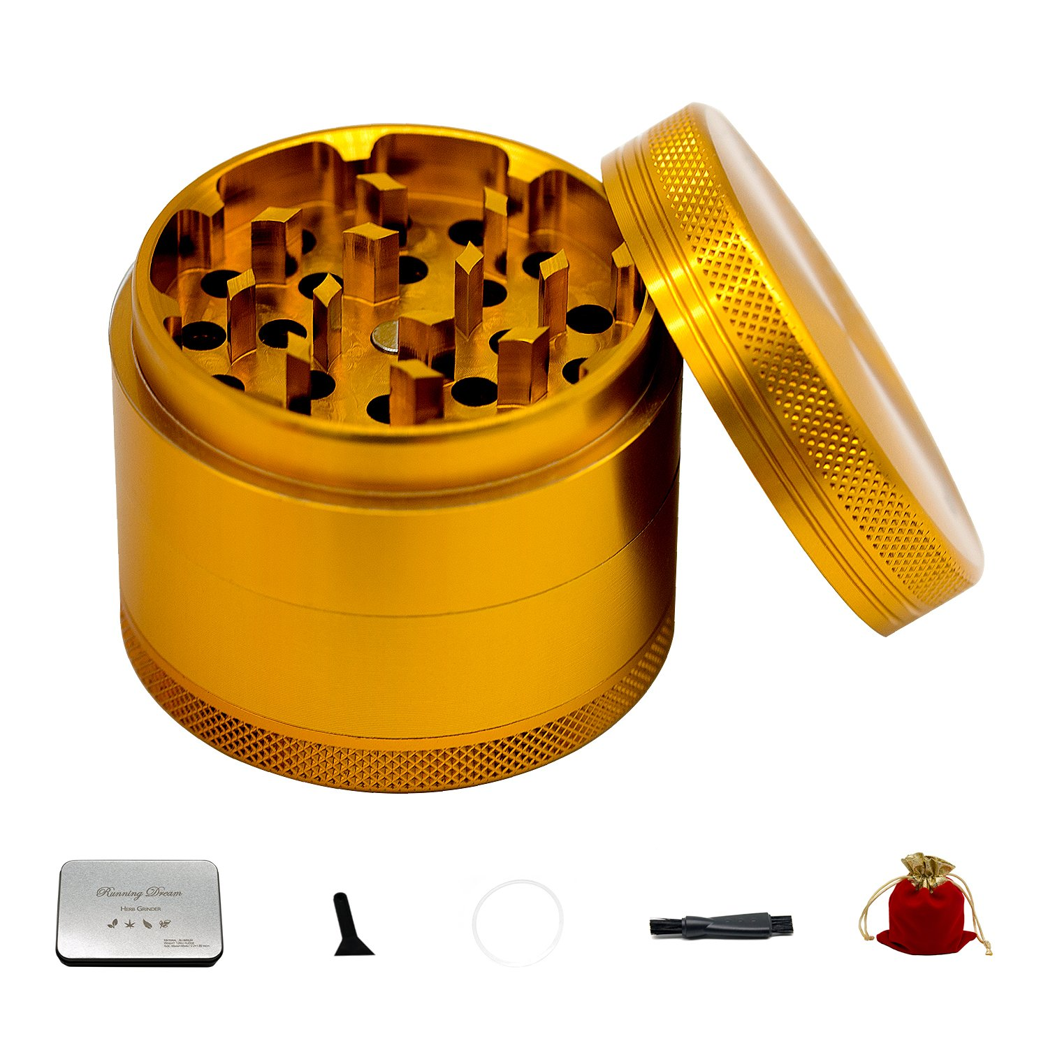 Running Dream Grinders 4-Piece Anodized Aluminum Herb Grinder with Pollen Catcher (2.2''-Gold Grinders)