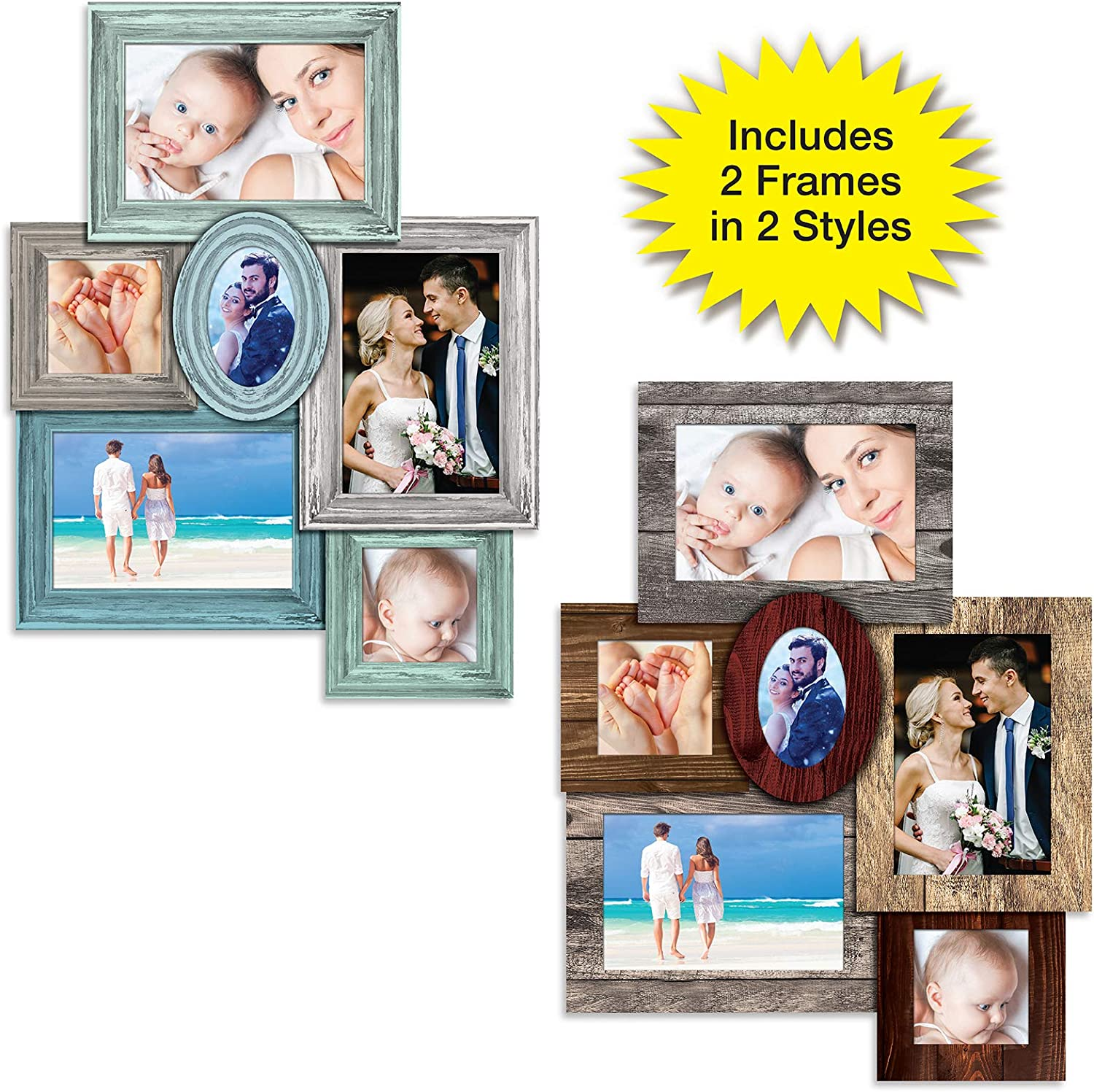 Excello Global Products Magnetic Collage Picture Frame Sets: Includes 2 Sets of Refrigerator Magnet Frames - Rustic Wooden Style Frames Each Hold 6 Pictures