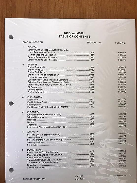 Case 480D 480LL Loader Backhoe Workshop Repair Service Manual Part Number # 9-69260