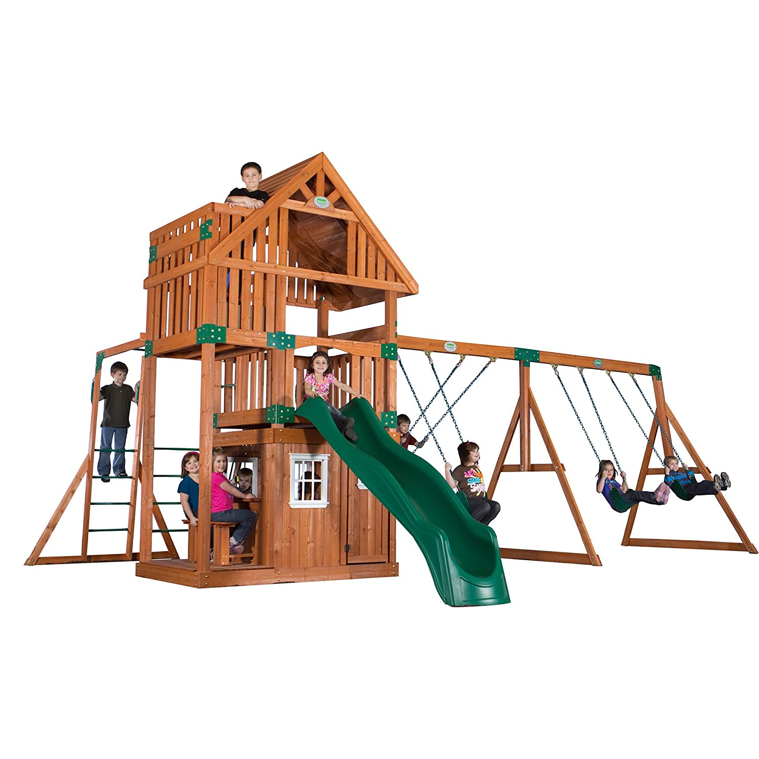 Amazon.com: Backyard Discovery Wanderer All Cedar Wood Playset Swing ...