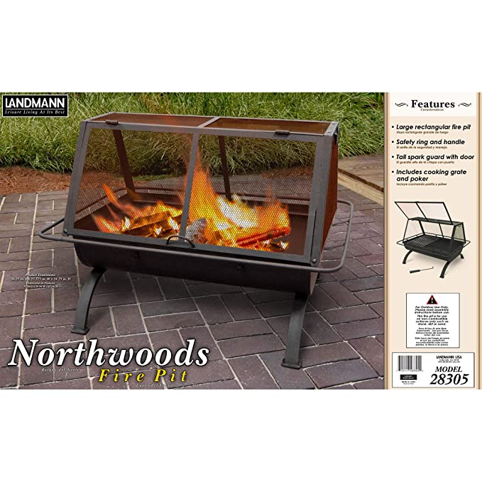 Amazon.com: Landmann Northwoods Pozo de fuego rectangular de ...