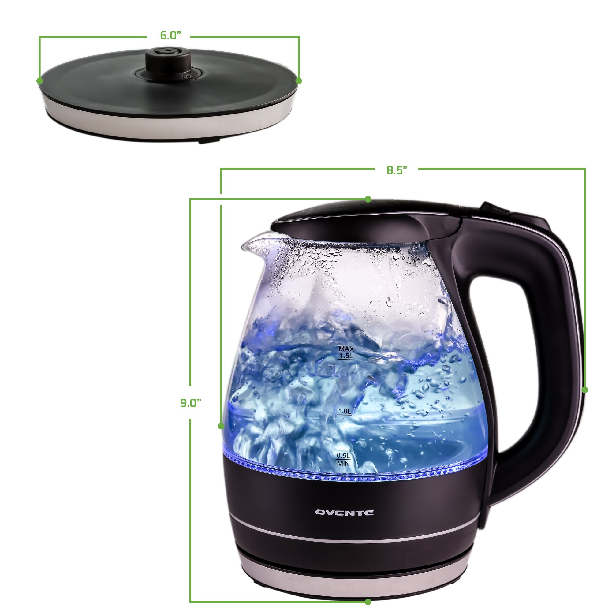 Ovente 1.5L BPA-Free Glass Electric Kettle, Fast Heating with Auto Shut-Off and Boil-Dry Protection, Cordless, LED Light Indicator, Black (KG83B) by Ovente (Image #10)