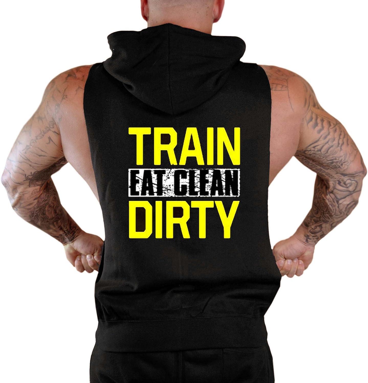 Mens Train Dirty Eat Clean Sleeveless Zipper Hoodie