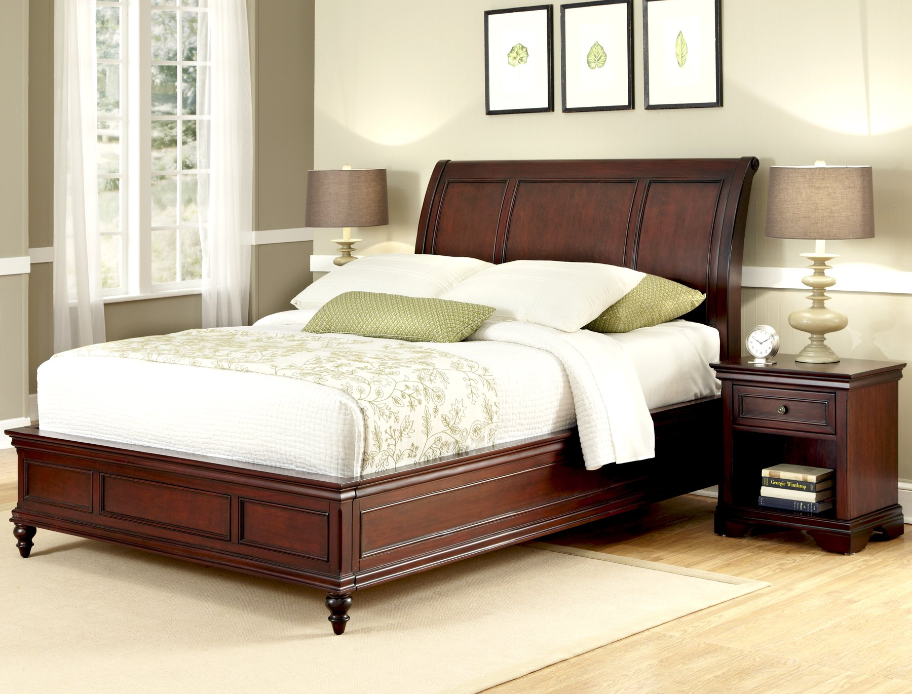 Lafayette Cherry King Sleigh Bed & Night Stand by Home Styles by Home Styles