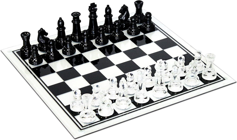 Elegante juego de tablero de ajedrez y tablero de vidrio transparente y esmerilado