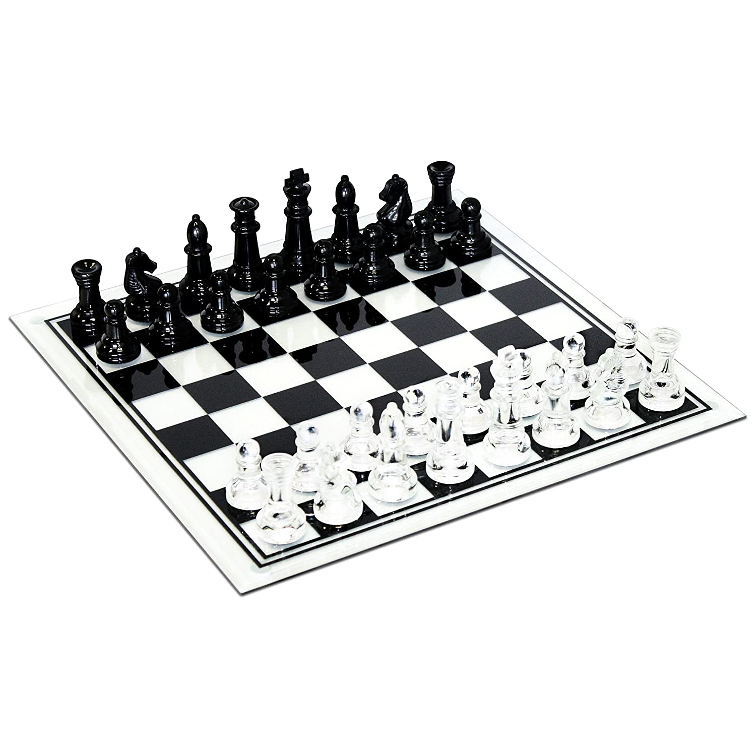 Black and Clear Glass Chess Set by WE Games
