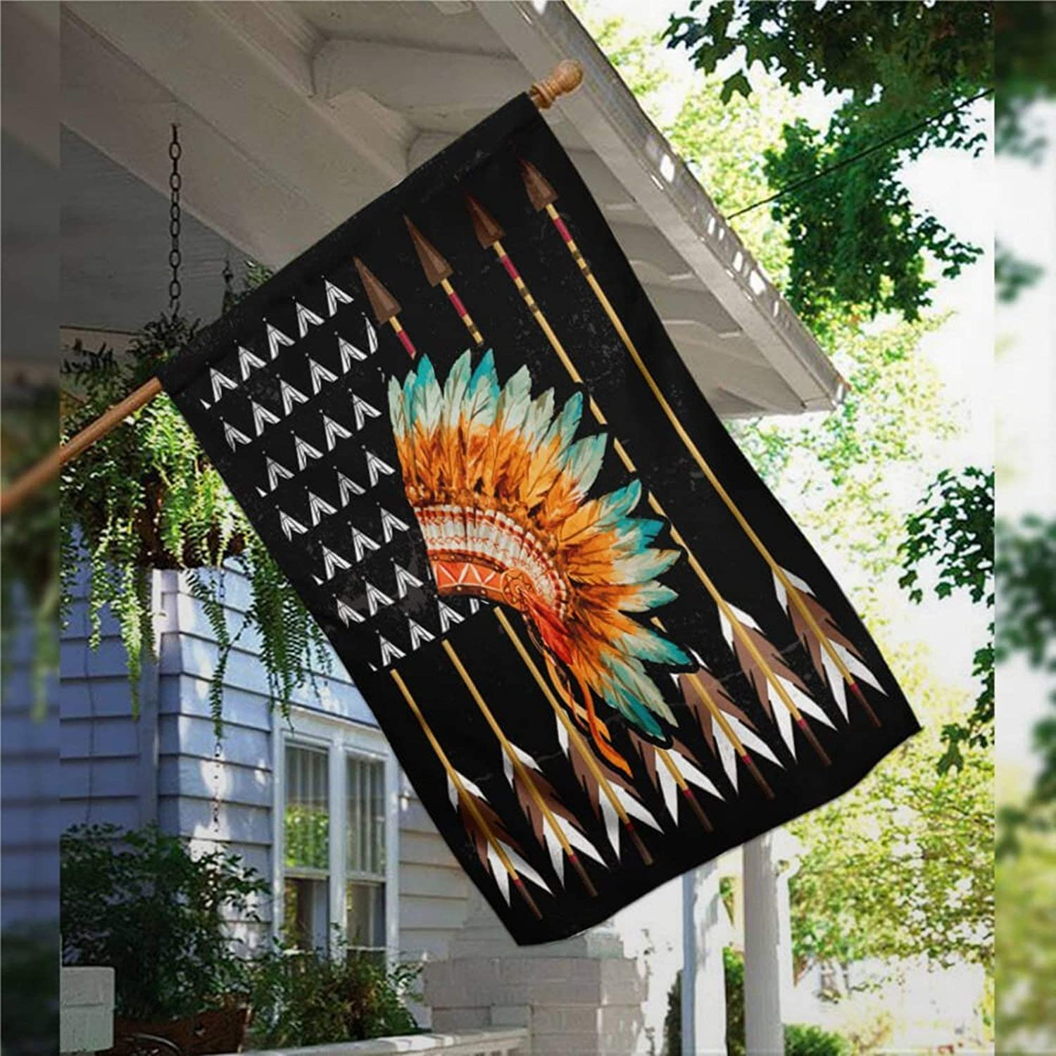 Garden Flag Native American Flag, Rustic House Peace Flag Yard Decor House Decor Flag Seasonal Banners for Patio Lawn Outdoor 28x40""