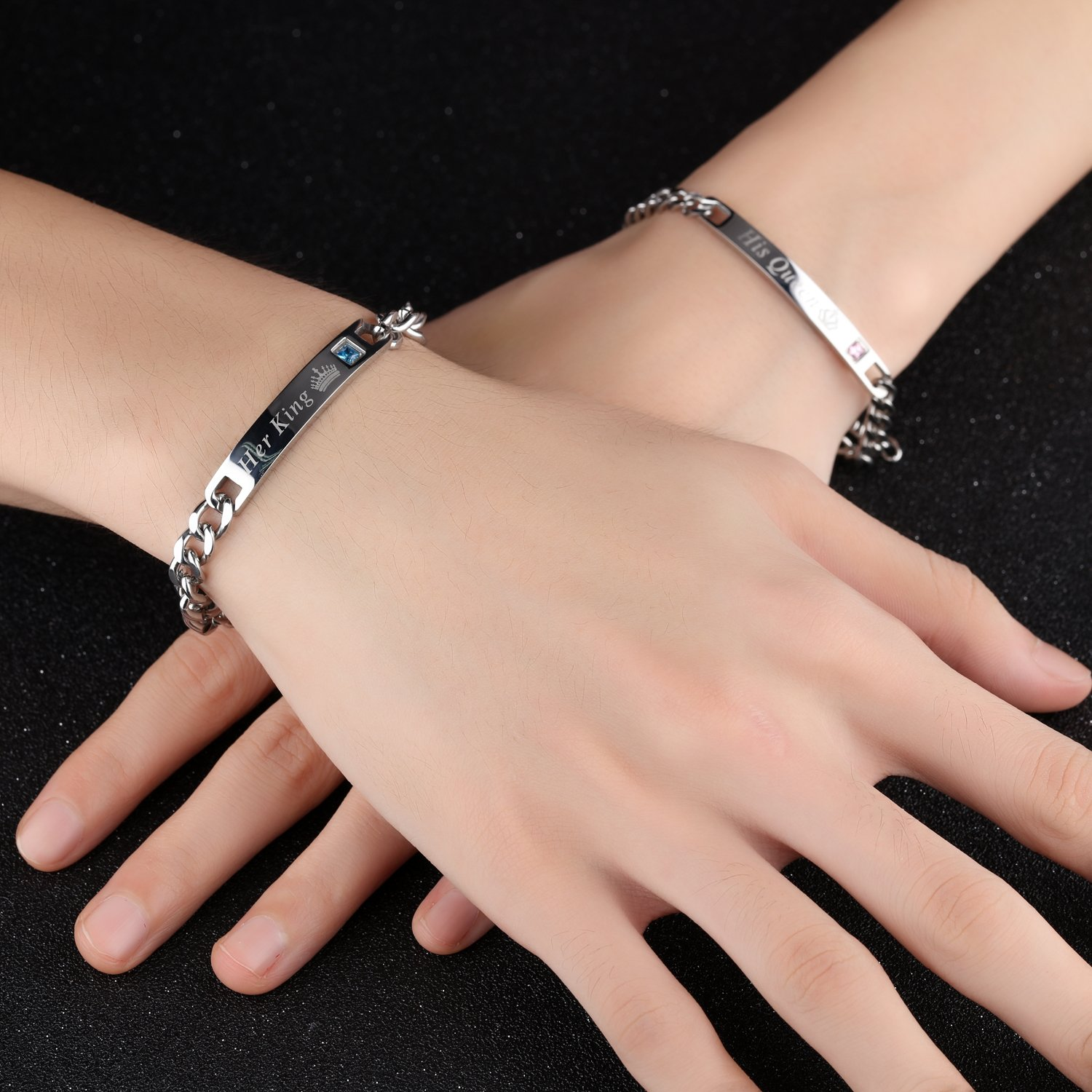 His Queen and Her King Stainless Steel Silver Plated Inlay Imitation Diamond Couple Bracelets Adjustable