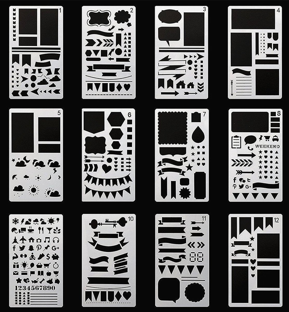 Bullet Journal Stencil,GEOTEL Easy Placement Light Ultra Thin Semitransparent Plastic Planner Stencils Journal/Notebook/Diary/Scrapbook DIY Drawing Template Stencil 4x7 Inch, 12 Pieces 4336890692