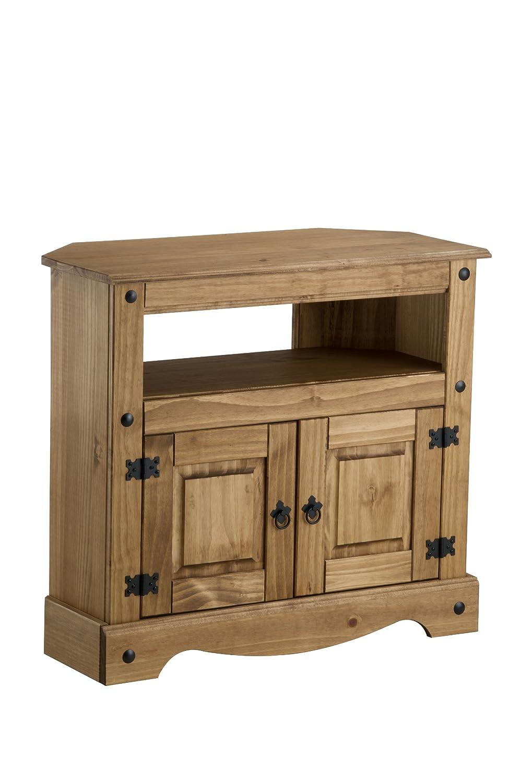 birlea corona mueble esquinero para televisin madera de pino encerada