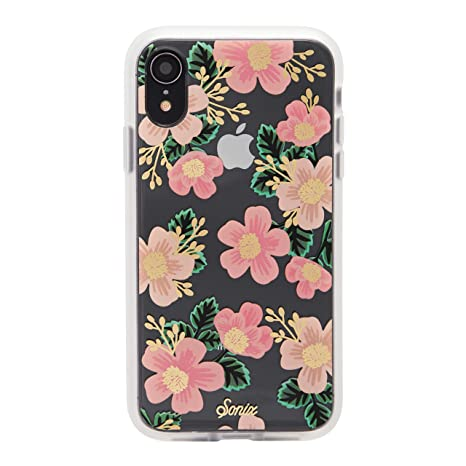 pretty nice 2eeb6 a7f9a iPhone XR, Southern Floral (Pink Flowers) Cell Phone Case [Military Drop  Test Certified] Women's Protective Clear Case for Apple iPhone (6.1