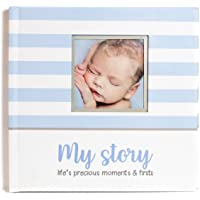 LovelySprouts First Year Baby Memory Book & Baby Journal (3 Color Styles Available). Perfect For Boys Or Girls Baby Shower Gift. First 5 Years Scrapbook, Keepsake & Photo Journal. Unisex, Blue