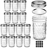 Mason Jars 8 OZ, AIVIKI Glass Regular Mouth Canning Jars with Silver Metal Airtight Lids and Bands for Sealing, Canning, Dry