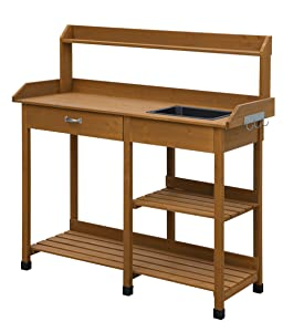 Convenience Concepts Deluxe Potting Bench, Light Oak