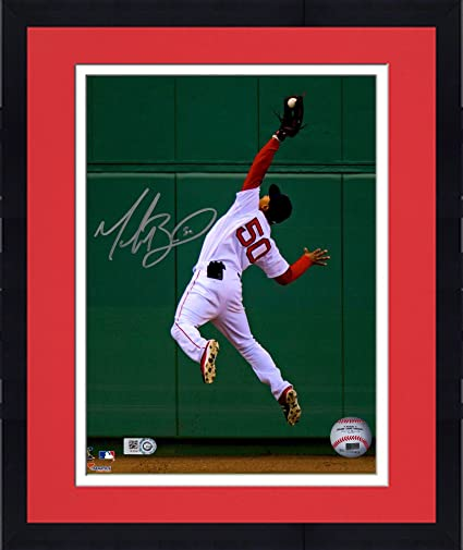 19e014e2f18 Framed Mookie Betts Boston Red Sox Autographed 8 quot  x 10 quot  Diving  Catch In Outfield