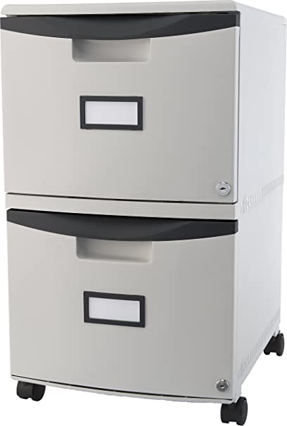 Storex 2-Drawer Mobile File Cabinet with Lock, Legal/Letter, 18.25 x