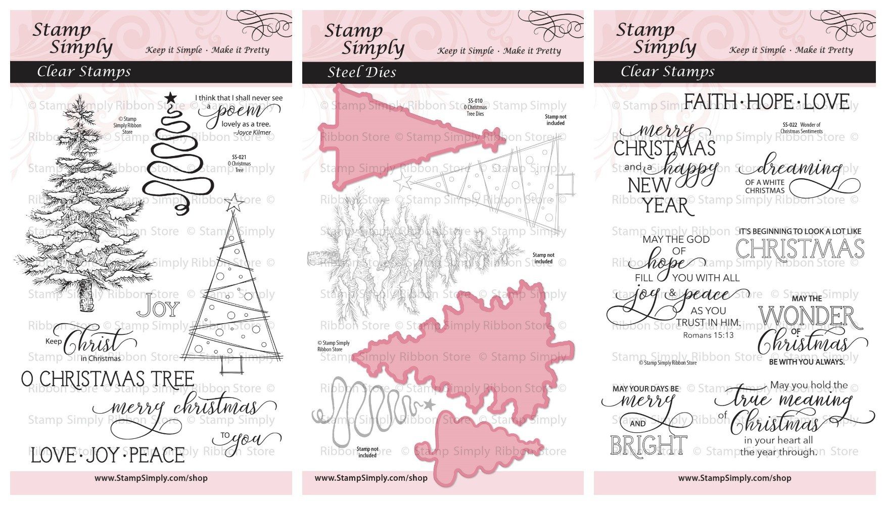 Stamp Simply Clear Stamps Die Trio Christmas Tree and Sentiments Christian Religious (3-Pack) 4x6 Inch Sheets - 21 Pieces