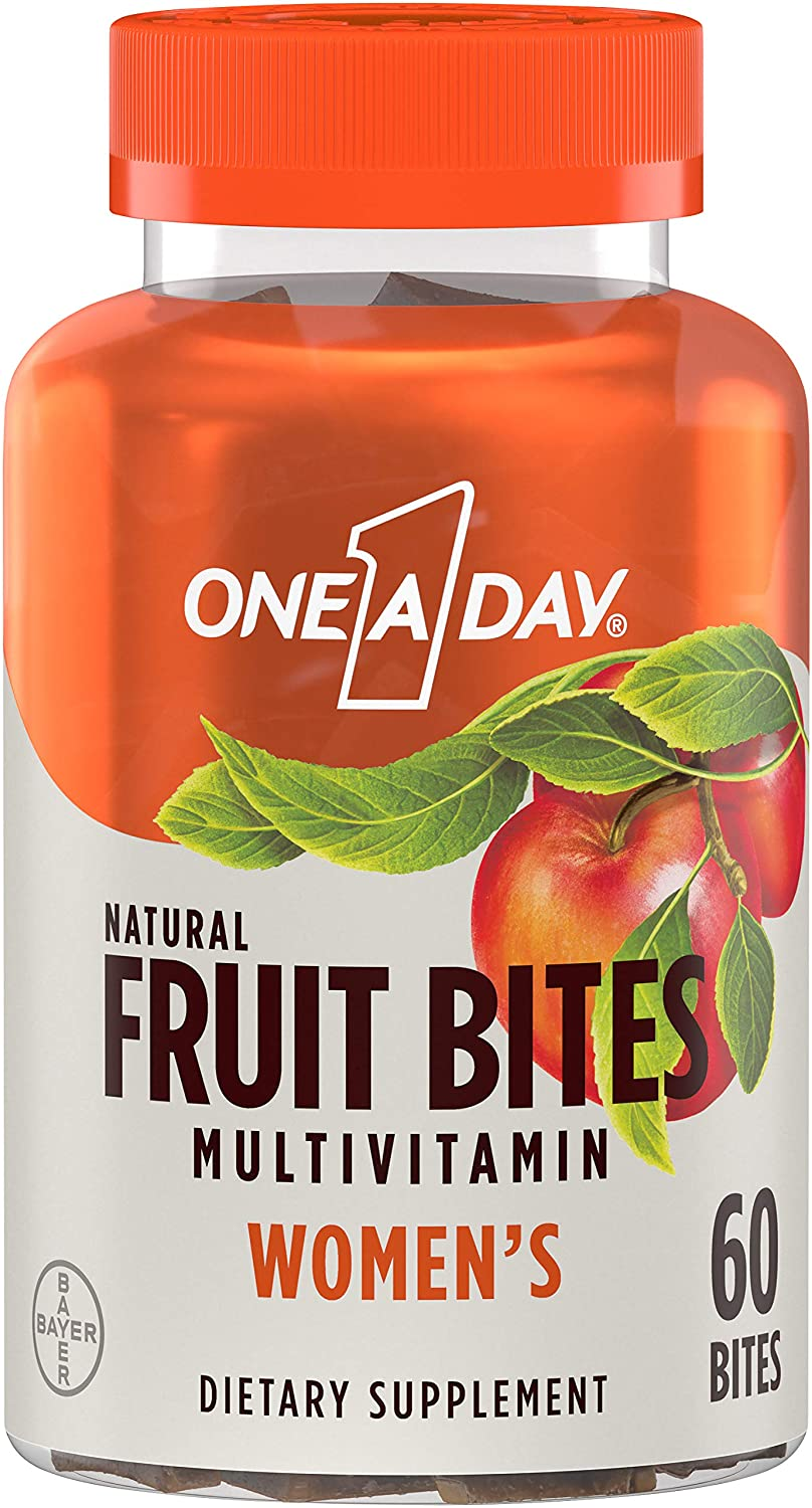 One A Day Women's Natural Fruit Bites Multivitamin with Immune Health Support*, 60 Count (1 Month Supply), Gluten Free Vitamins with Vitamin A, Vitamin D, Vitamin E, B6, B12, Biotin & More