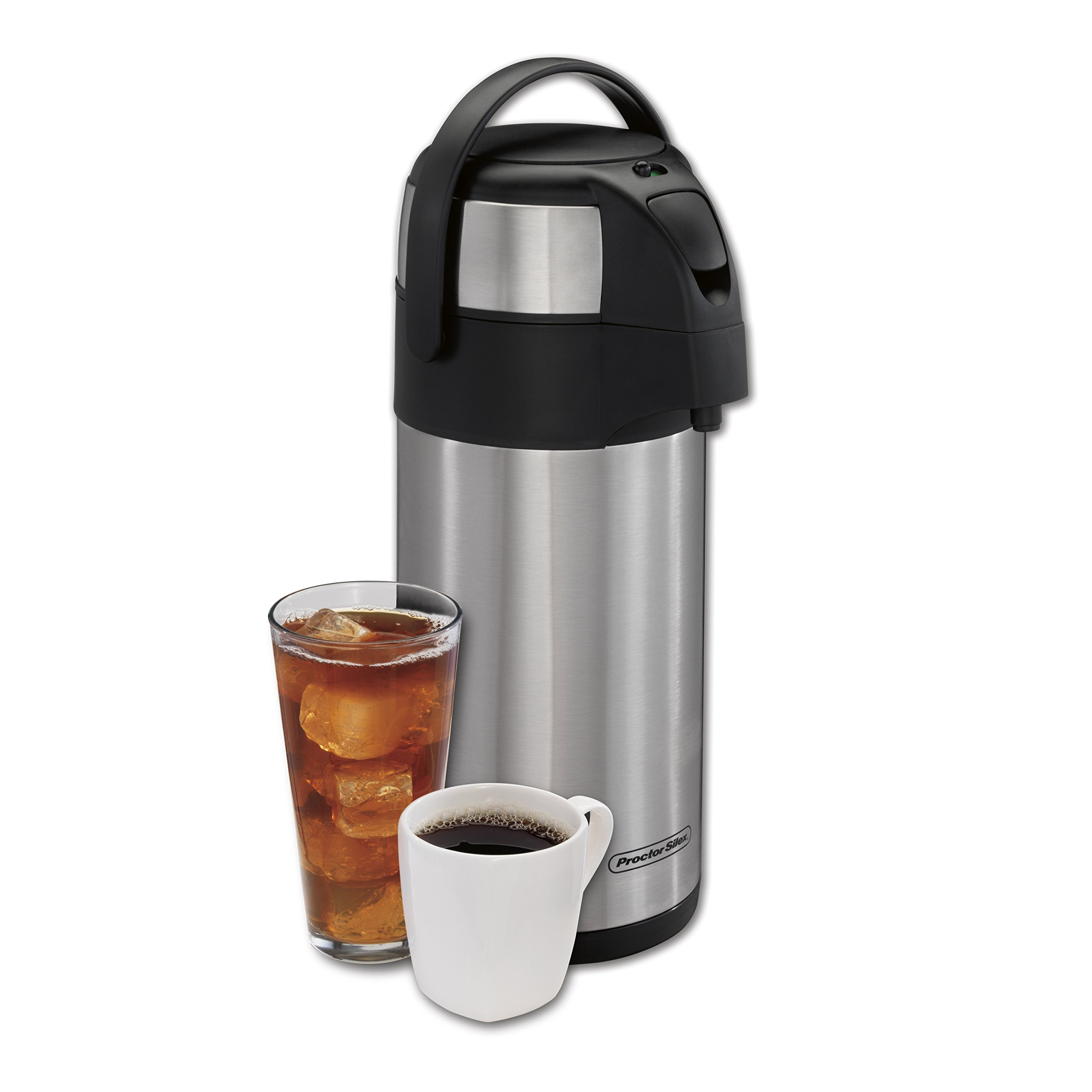 Proctor Silex 40411 Thermal Airpot Hot Coffee Cold Beverage Dispenser with Pump, Vacuum Insulated, 3 Liter, Stainless Steel