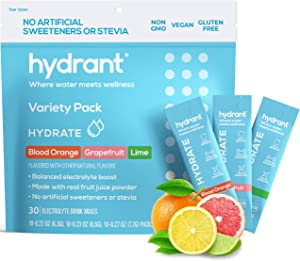 Hydrant Hydrate Variety 30 Stick Packs, Electrolyte Powder Rapid Hydration Mix, Hydration Powder Packets Drink Mix, Helps Rehydrate Better Than Water