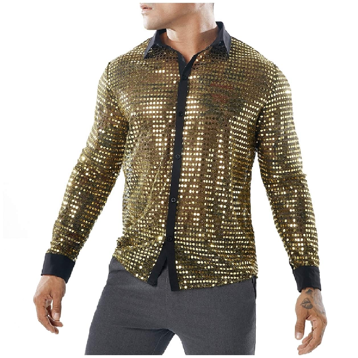 Tootless-Men See-Through Long Sleeve Nightclub Style Sequin Dress Shirt