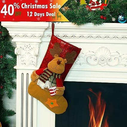 codream 18 classic christmas stockings felt applique decor xmas holiday stocking decoration gift reindeer - Classic Christmas Stockings