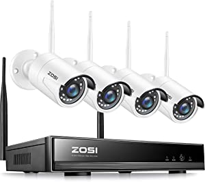 ZOSI 8CH 1080P Wireless Security Camera System, H.265+ 8Channel 2MP CCTV NVR Recorder,4pcs 1080P WiFi IP Camera Outdoor Indoor,80ft Night Vision,Motion Alert,Mobile&PC Remote Access (No Hard Drive)